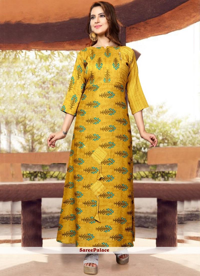 Yellow Print Rayon Casual Kurti