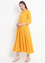 Yellow Print Rayon Designer Kurti