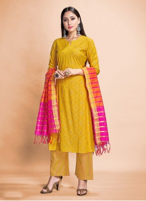 Yellow Print Rayon Pant Style Suit