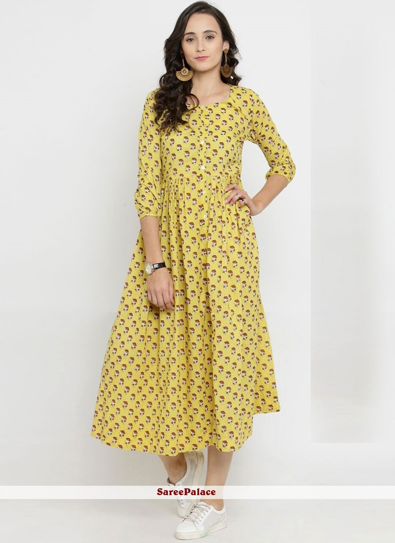 Yellow Print Rayon Party Wear Kurti