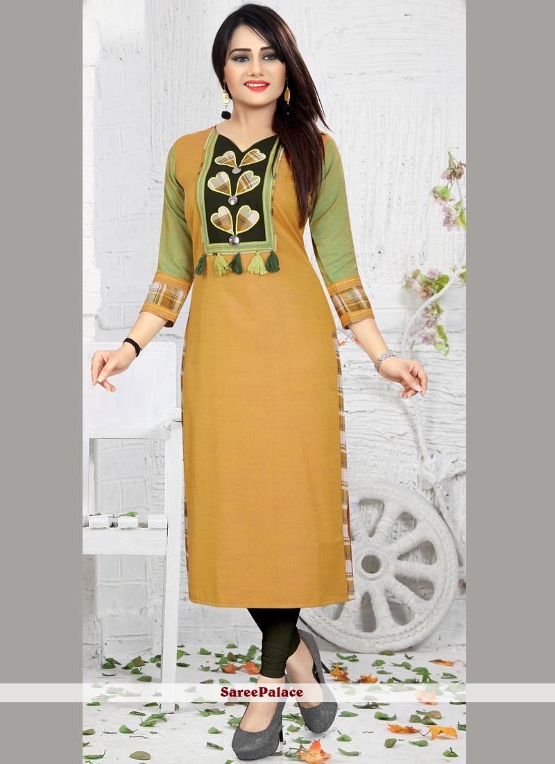 Yellow Print Work Rayon Party Wear Kurti