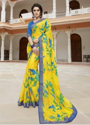 Yellow Printed Bollywood Saree