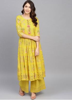 Yellow Printed Casual Kurti