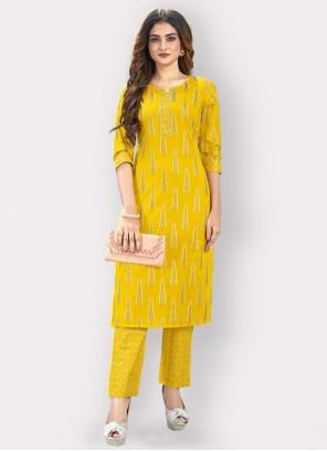Yellow Printed Cotton Party Wear Kurti