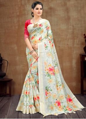 Yellow Cotton Casual Printed Saree