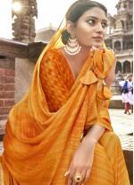 Yellow Printed Faux Chiffon Classic Saree