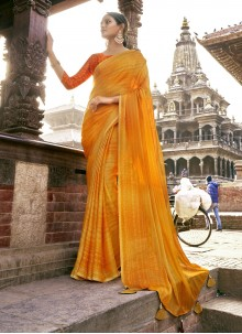 Yellow Printed Faux Chiffon Classic Saree
