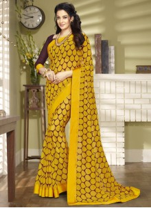 Yellow Printed Faux Georgette Saree