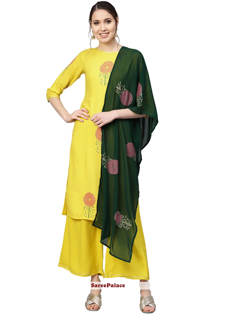 Yellow Printed Georgette Readymade Designer Suit