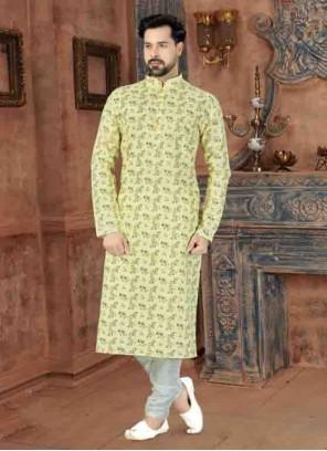 Yellow Printed Kurta Pyjama