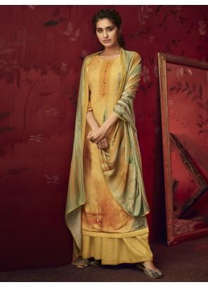 Yellow Printed Salwar Kameez