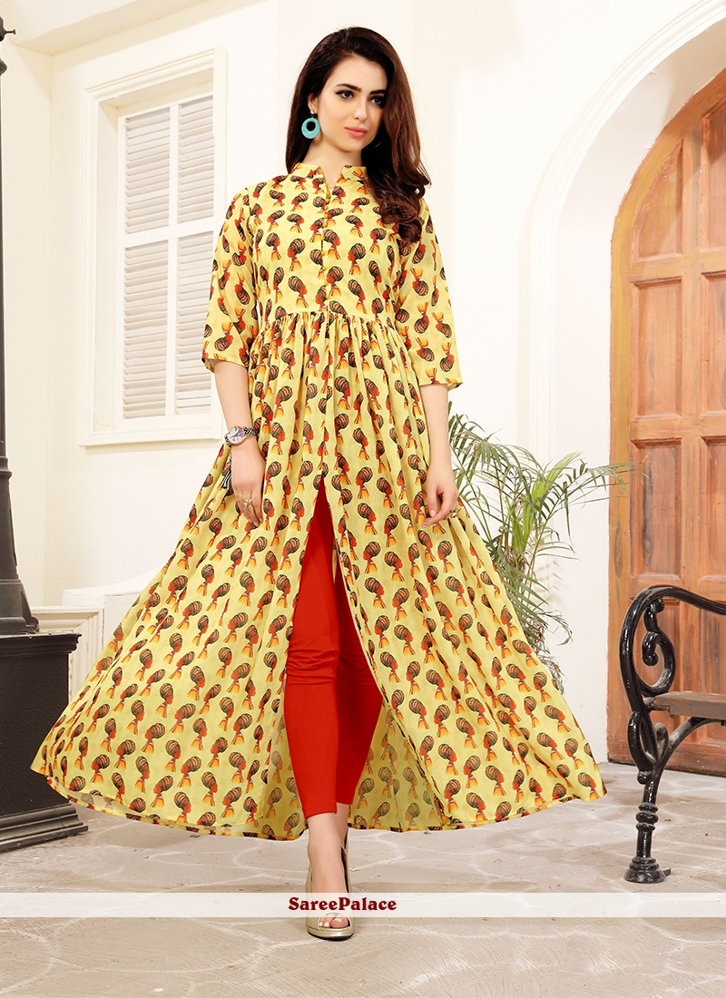 Yellow Printed Work Blended Cotton Party Wear Kurti