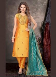 Yellow Raw Silk Readymade Designer Suit