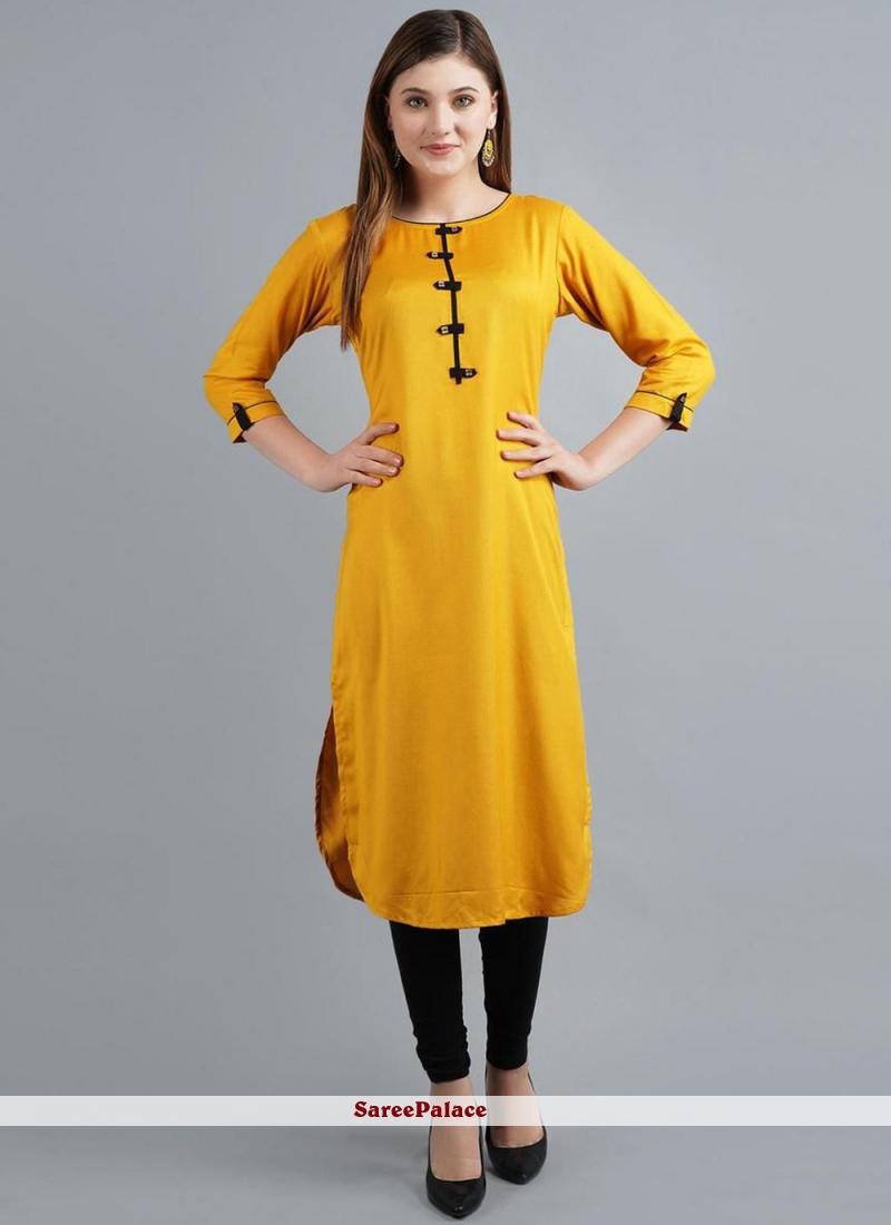 Yellow Rayon Designer Kurti