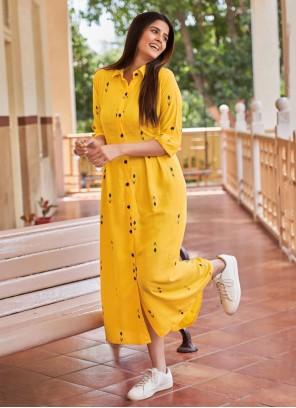 Yellow Rayon Digital Print Party Wear Kurti