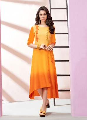 Yellow Rayon Embroidered Designer Kurti