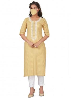 Yellow Rayon Party Wear Kurti
