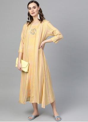 Yellow Rayon Plain Designer Kurti