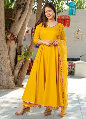 Yellow Rayon Readymade Suit
