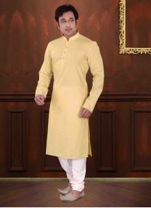 Yellow Reception Cotton Kurta Pyjama