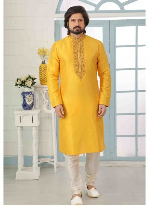 Yellow Reception Kurta Pyjama