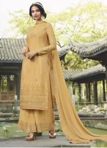 Yellow Resham Chinon Designer Palazzo Salwar Kameez