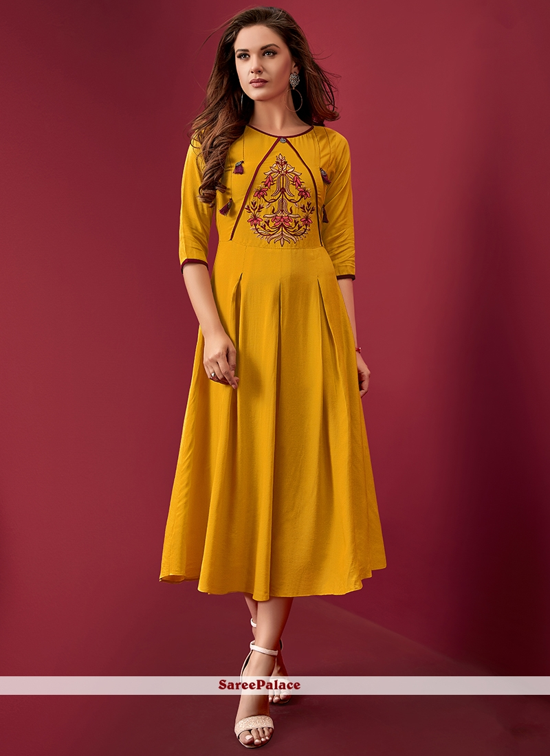 Yellow Resham Rayon Party Wear Kurti