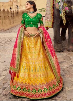 Yellow Embroidered Resham Silk Lehenga Choli