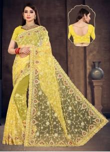 Yellow Sangeet Net Designer Saree