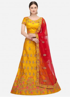 Yellow Satin Silk A Line Lehenga Choli
