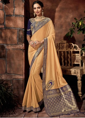 Yellow Satin Silk Embroidered Classic Saree