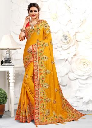 Yellow Satin Traditional Designer Saree