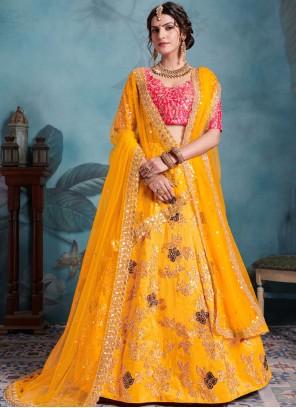 Yellow Sequins Art Silk Trendy Designer Lehenga Choli