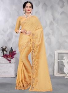 Yellow Sequins Designer Saree