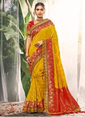 Yellow Silk Contemporary Saree