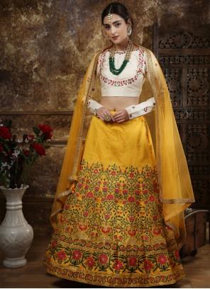 Yellow Silk Designer Lehenga Choli