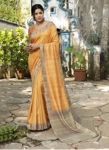 Yellow Silk Designer Traditional Saree