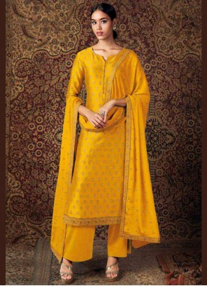 Yellow Silk Embroidered Designer Palazzo Salwar Suit