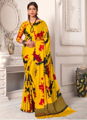 Yellow Silk Party Casual Saree