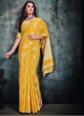 Yellow Silk Party Silk Saree