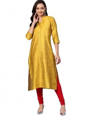 Yellow Silk Party Wear Kurti