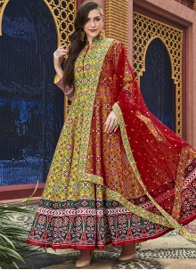 Yellow Silk Readymade Salwar Suit