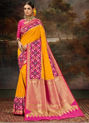 Yellow Weaving Zari Silk Saree