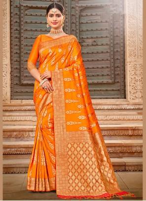 Yellow Art Silk Saree