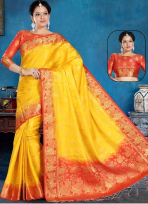 Yellow Silk Traditional Saree