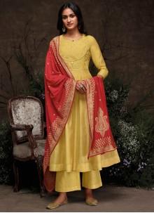 Yellow Silk Trendy Pakistani Suit