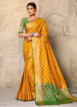 Yellow Silk Trendy Saree