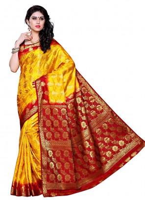 Yellow Silk Zari Traditional Saree