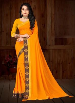 Yellow Vichitra Silk Designer Traditional Saree