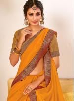 Yellow Vichitra Silk Traditional Saree